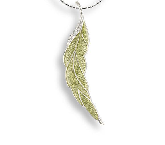 Sterling Silver Green Leaf Brooch.