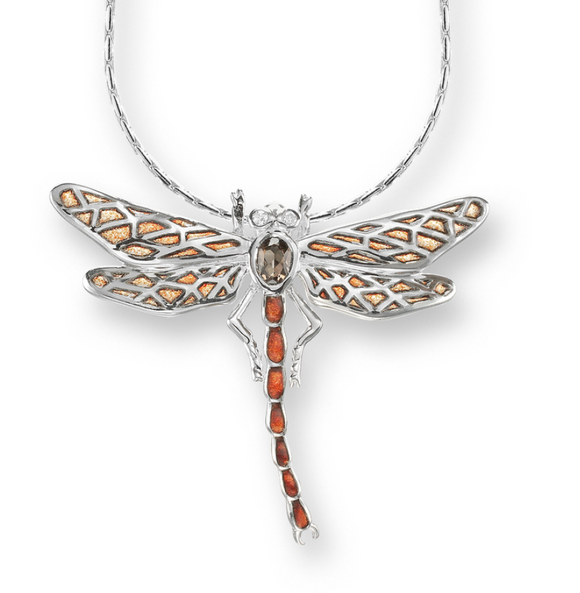 Sterling Silver Dragonfly Necklace-Orange. Diamonds and Smokey Topaz