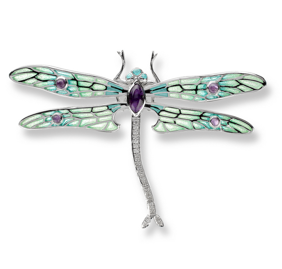 Sterling Silver Dragonfly Brooch/Pendant-Green, Diamond, Amethyst