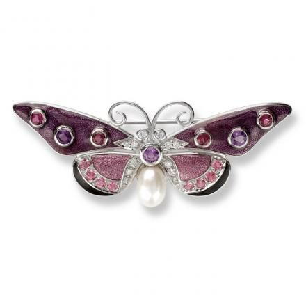 terling Silver Butterfly Brooch, Amethyst and Pink Tourmalines