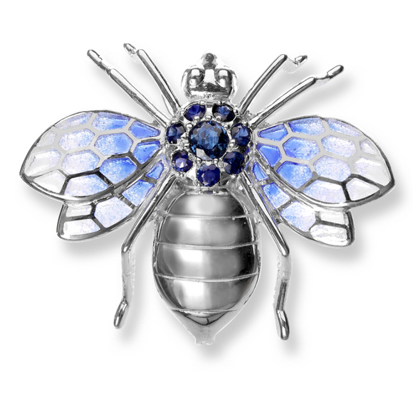 Sterling Silver Bee Brooch-Blue. Blue Sapphires