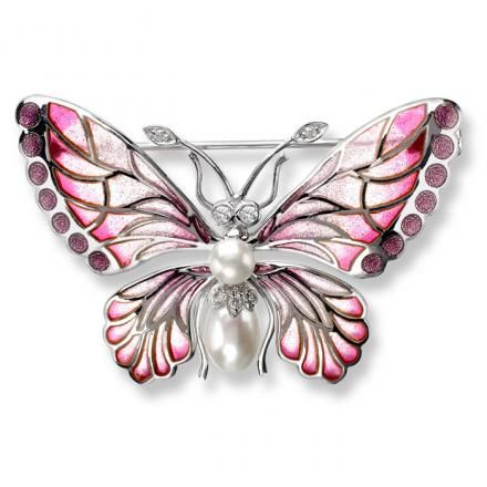 Sterling Silver Butterfly Brooch-Purple, Diamond, Pearl