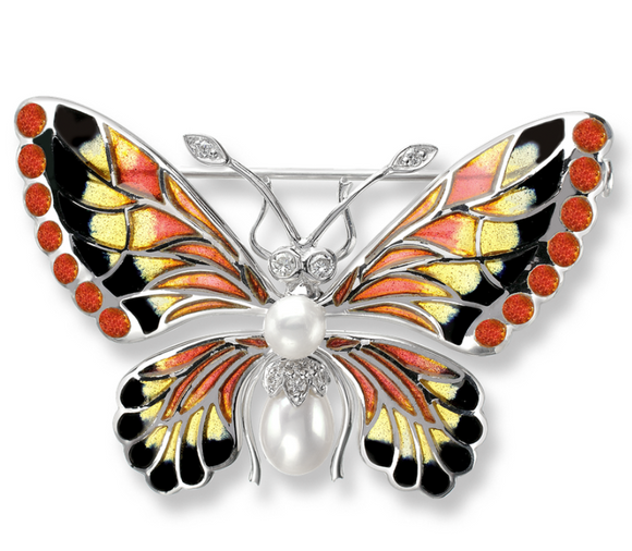 Sterling Silver Butterfly Brooch-Orange, Diamond, Pearl