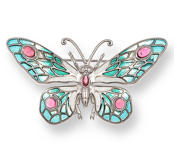 Sterling Silver Butterfly Brooch-Turquoise. Diamonds, Pink Tourmaline