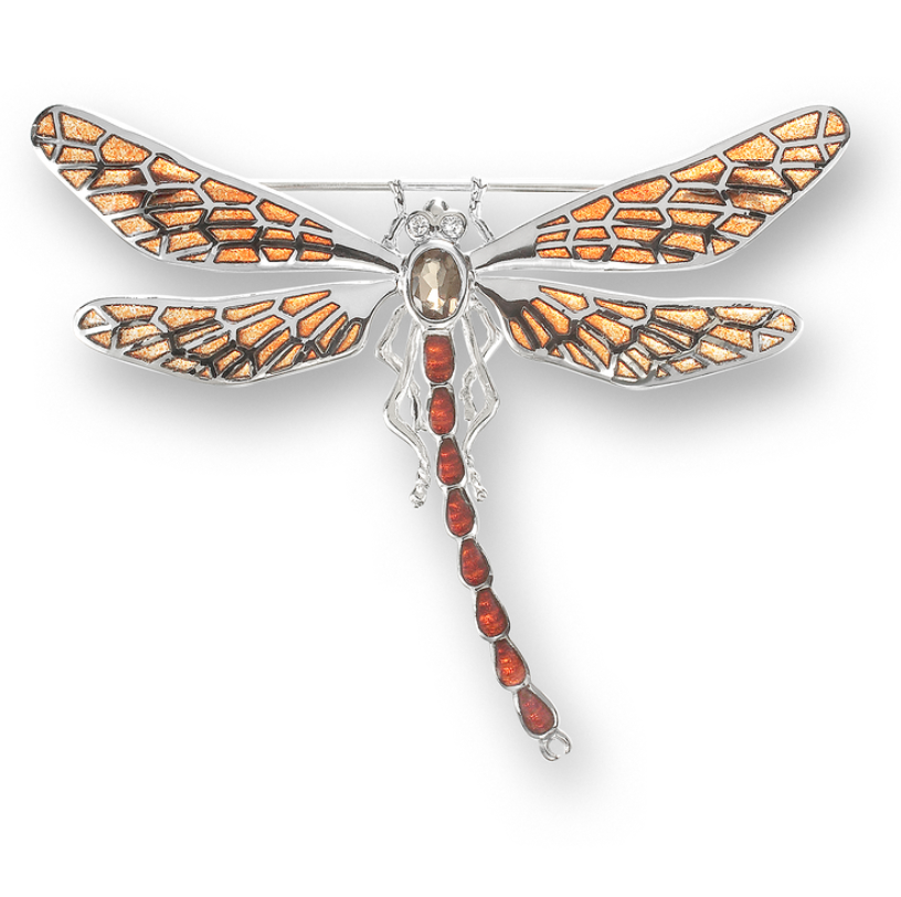 Sterling Silver Dragonfly Brooch-Orange. Diamonds and Smokey Topaz