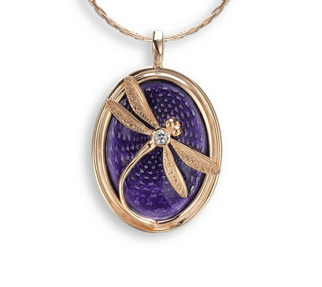 Sterling Silver Rose Gold Dragonfly Necklace- Purple