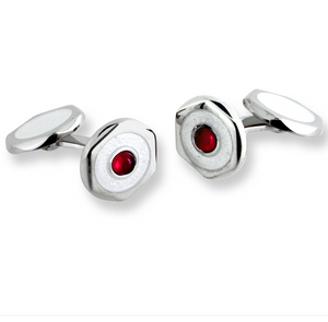 Sterling Silver Hexagon Elbow Cufflinks-White. Ruby