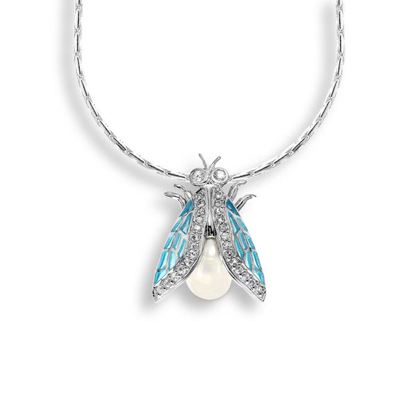 Sterling Silver Necklace-Cicada-Blue-White Sapphire-Pearl