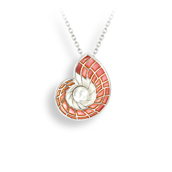 Sterling Silver Pink Nautilus Shell Necklace-Freshwater Pearl