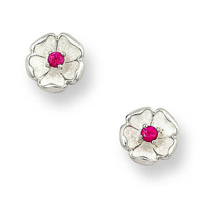 Sterling Silver Rose Stud Earrings-White. Ruby