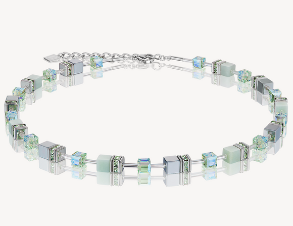 GeoCUBE® Necklace amazonite & haematite light green