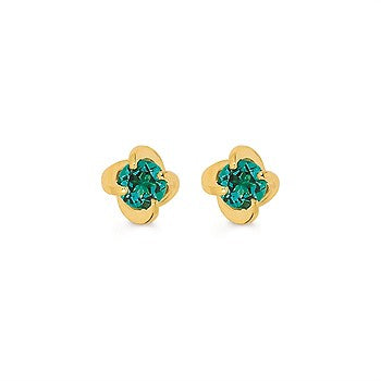 Diamonds With A Twist Earrings With Created Emeralds