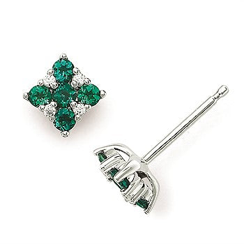 Emerald And Diamond Square Stud Earrings