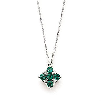 Emerald And Diamond Square Pendant In 14K Gold With 18