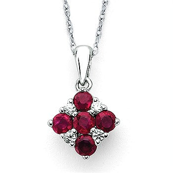 Ruby And Diamond Square Pendant In 14K Gold With 18