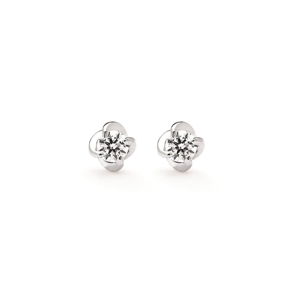Twisted Diamond Stud Earrings In 14K White Gold