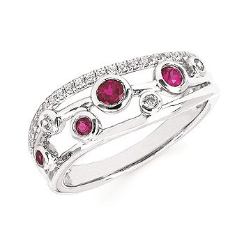 Ruby And Diamond Fashion Ring In 14K Gold