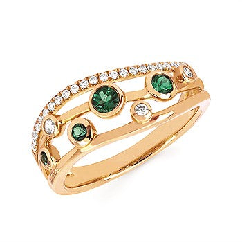 Emerald And Diamond Fashion Ring In 14K Gold