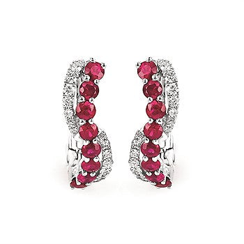 Ruby And Diamond Swirl Earrings 14K Gold