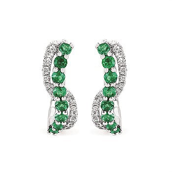 Emerald And Diamond Swirl Earrings 14K Gold