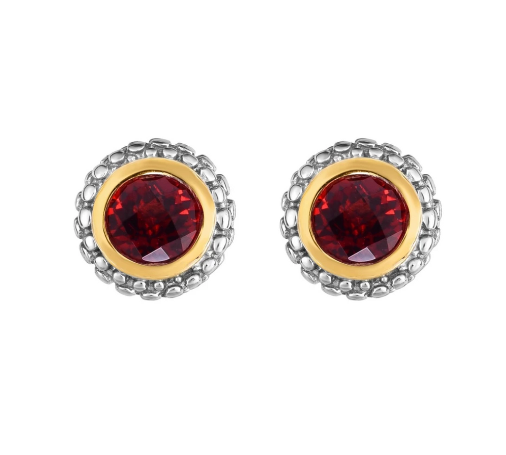 Sterling Silver & 18K Gold Popcorn Garnet Birthstone Stud Earrings