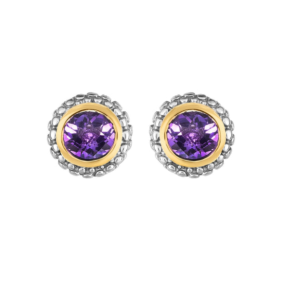 Sterling Silver & 18K Gold Popcorn Amethyst Birthstone Stud Earrings