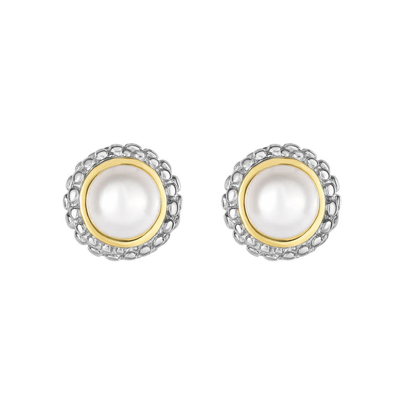 Sterling Silver & 18K Gold Popcorn Pearl Birthstone Stud Earrings