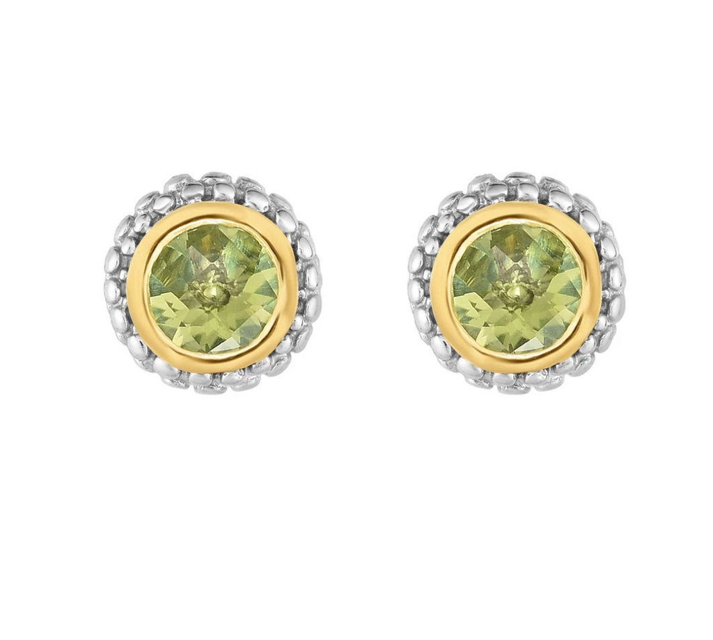 Sterling Silver & 18K Gold Popcorn Peridot Birthstone Stud Earrings