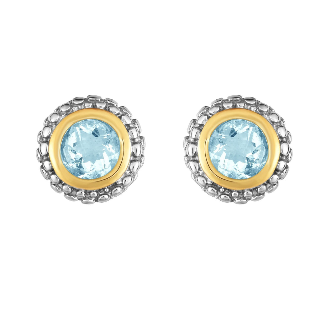 Sterling Silver & 18K Gold Popcorn Aqua Birthstone Stud Earrings