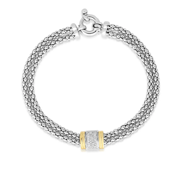 Sterling Silver & 18K Gold .13Ct Diamond Bracelet