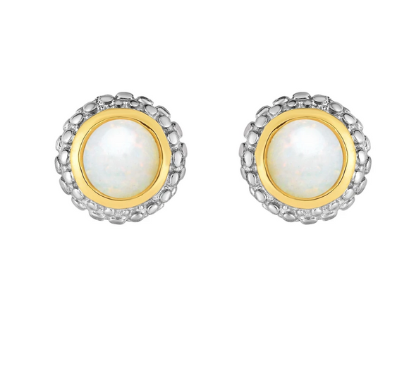 Sterling Silver & 18K Gold Popcorn Opal Birthstone Stud Earrings
