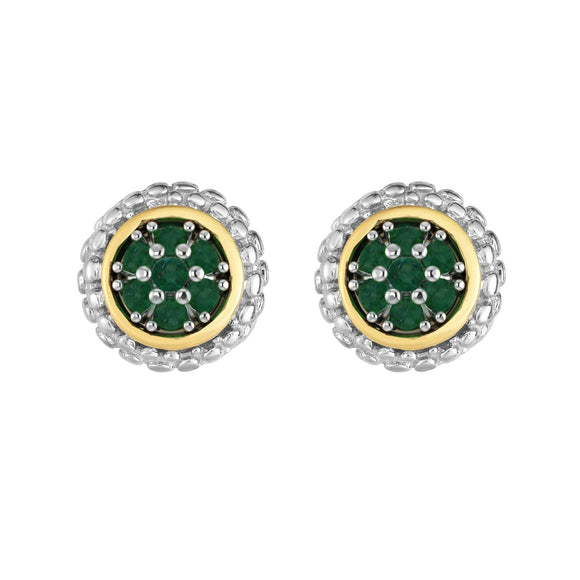 Sterling Silver & 18K Gold Popcorn Emerald Birthstone Stud Earrings