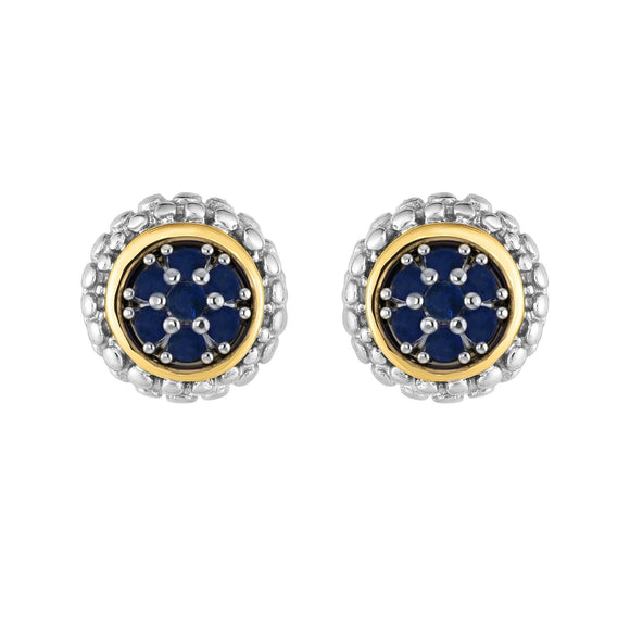 Sterling Silver & 18K Gold Popcorn Sapphire Birthstone Stud Earrings