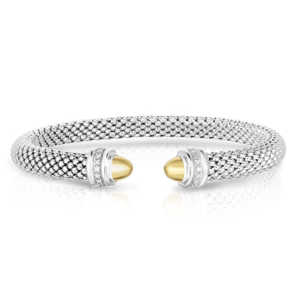 Sterling Silver & 18K Gold .07Ct Popcorn Diamond Cuff