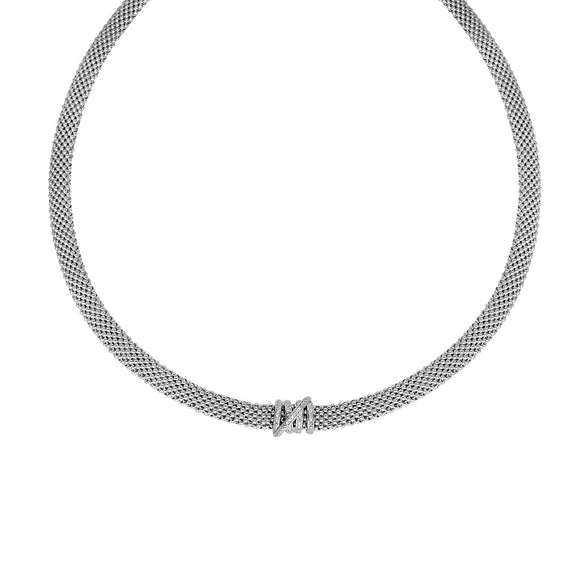 Sterling Silver Popcorn Diamond Tally Collar Necklace