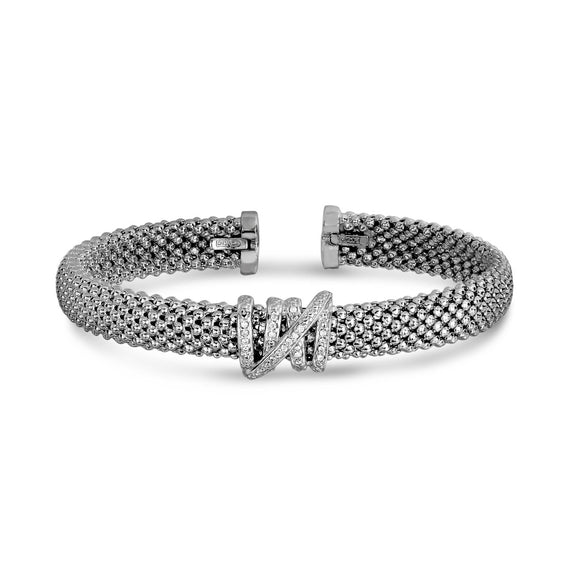 Sterling Silver Popcorn Diamond Tally Cuff Bangle