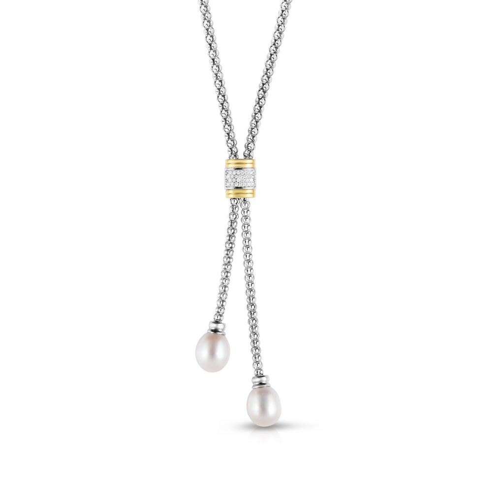 Sterling Silver & 18K Gold .13Ct Diamond & Pearl Lariat Necklace