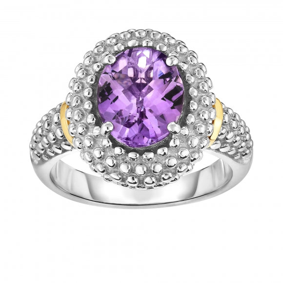 Sterling Silver and 18K Gold Popcorn Ring With Amethyst