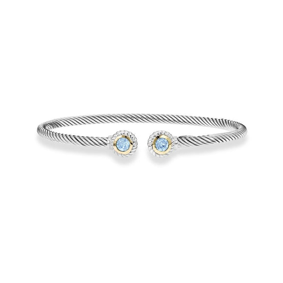 Sterling Silver Blue Topaz Cable Cuff