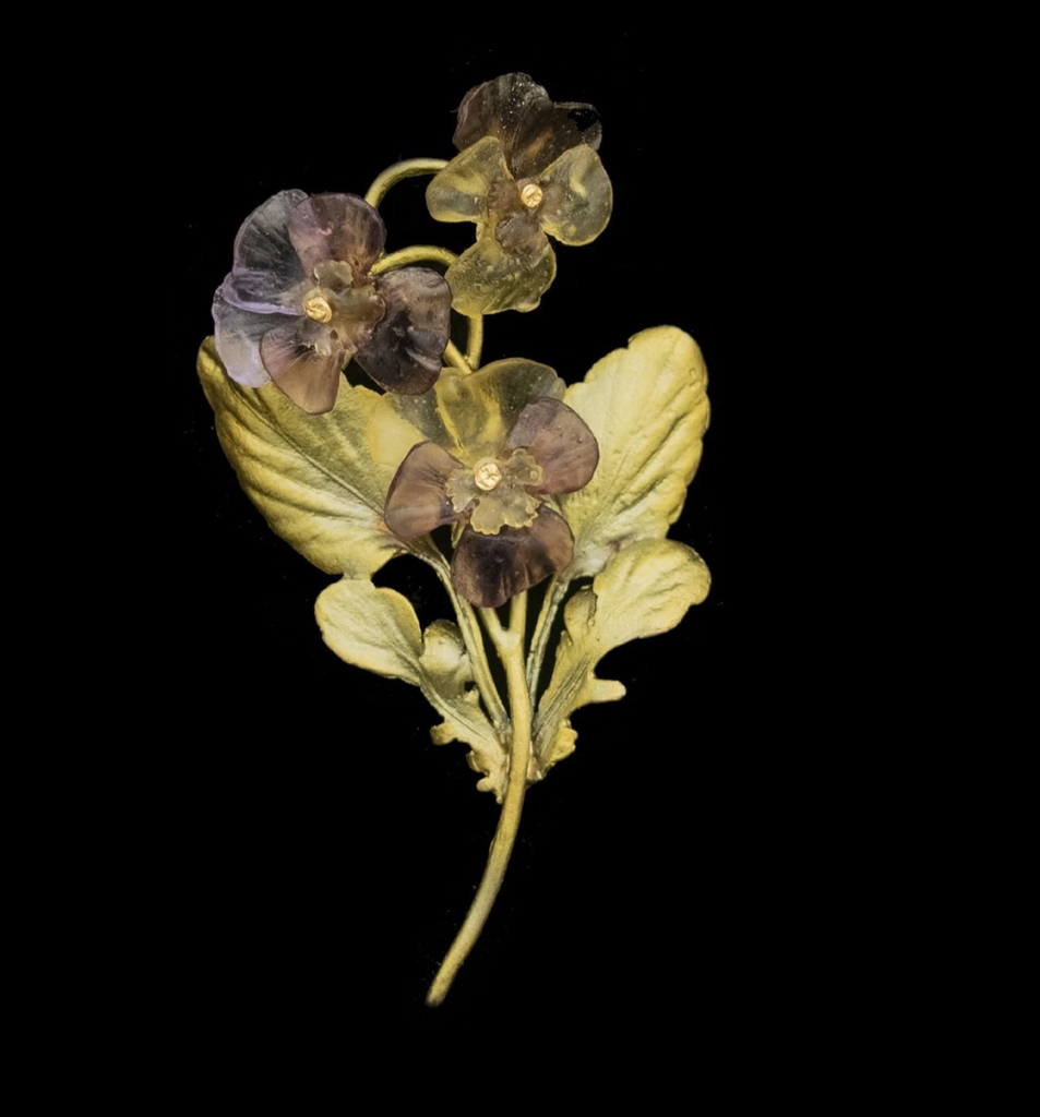 Pansies Three Flower Brooch