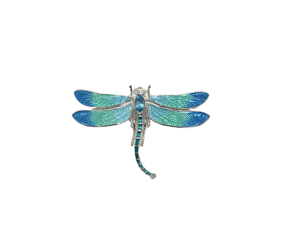 Blue Topaz Dragonfly Brooch