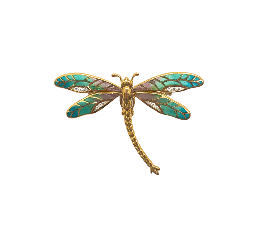 Teal and Pink 18k Gold Dragonfly