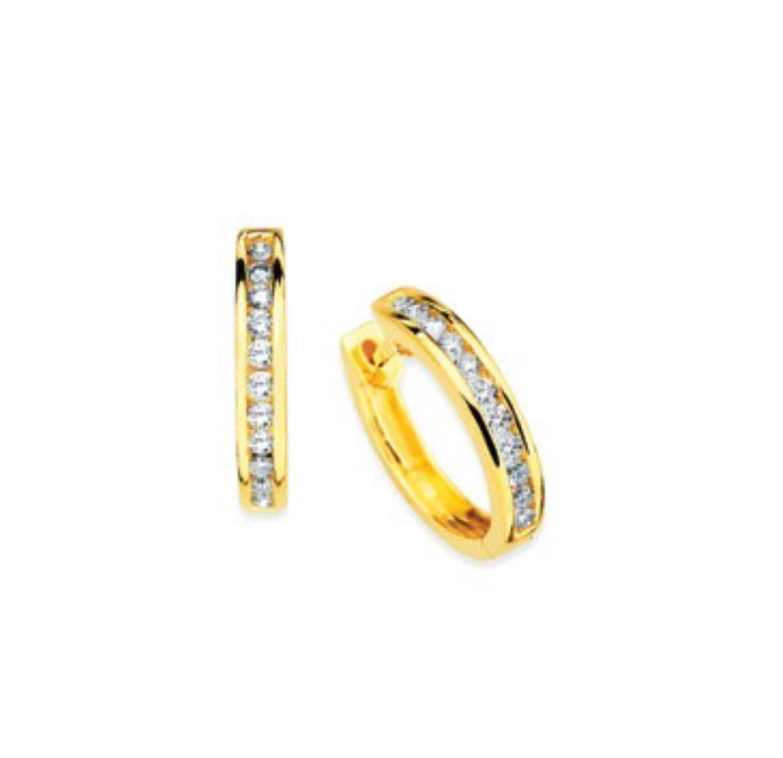 14K 18 Channel Set Diamond Hoops