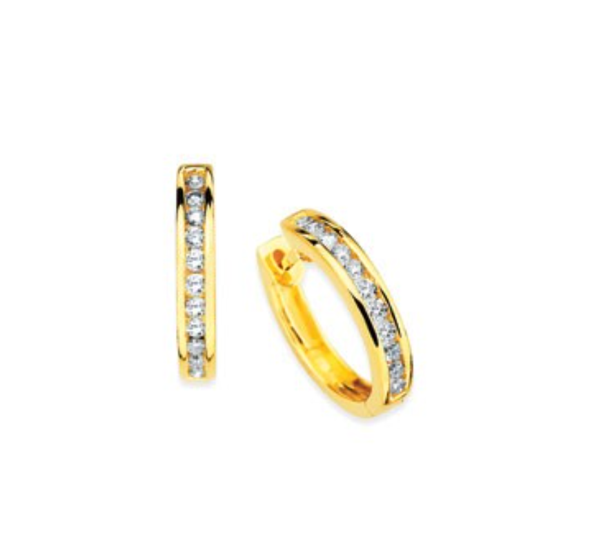 14K 14 Channel Set Diamond Hoops