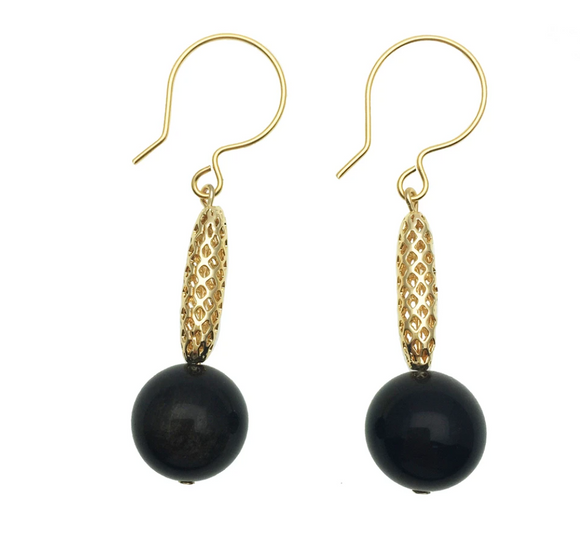 Black Tiger Eye and Gold Charm Earrings