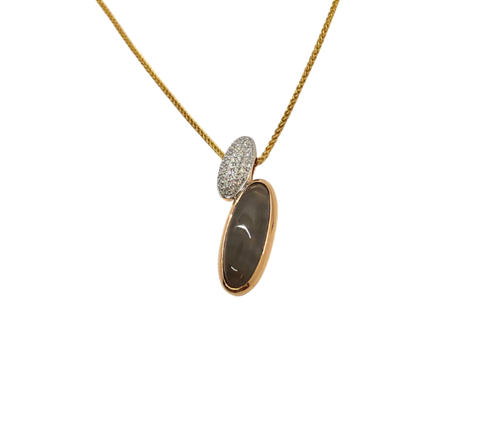 Breuning Moonstone Pendant in Long Oval