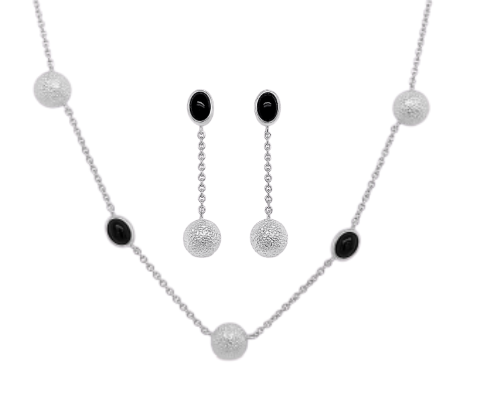 Sterling Silver Onyx Set