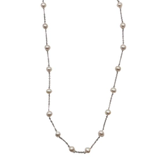 14K White Gold and Pearl Choker