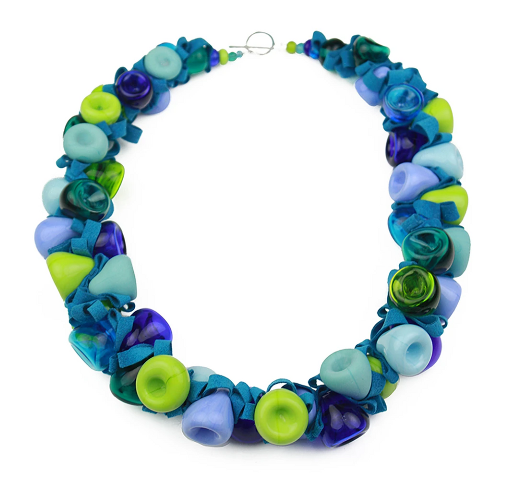 Blue and Green Ribbon Necklace