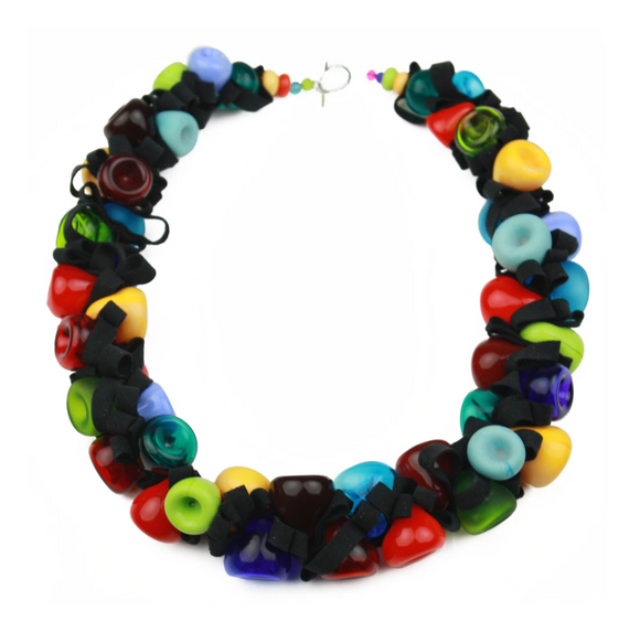 Multi-Colored Ribbon Necklace